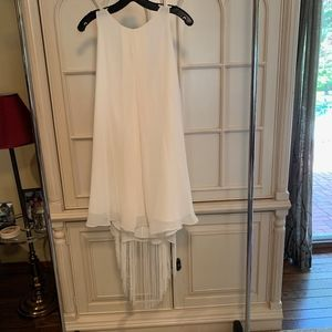 NWT! Beautiful BCBG white fringe cocktail dress xs